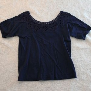 Navy Blue Laced Blouse